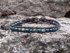 Blue Single Wrap Bracelet Lapis Blue Denim Blue by LReneDesigns