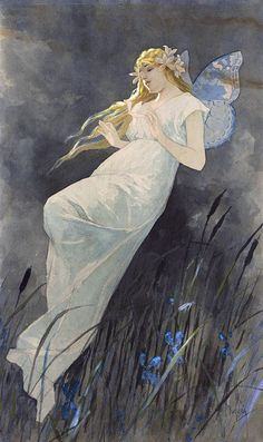 Alphonse Mucha (Czech, 1860-1939). Elf with iris. Watercolor and gouache over pencil, 1885-90