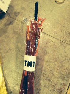 Minecraft TNT-3 wrapped twizzlers, printed address label, then slide in black pipe cleaner in middle