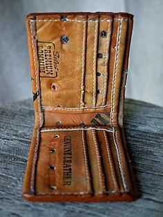Leather Wallet Built From Vintage Baseball Gloves-Vvego http://www.vvego.com…
