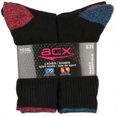 ACX Active Ladies Black Crew Sock - 10pk.