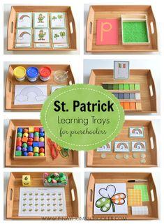 St. Patrick's themed learning trays for preschoolers #montessori #preschool #practicallfeskills #finemotorskills #activities #kidsactivities #homeschool #homeeducation