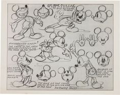 Mickey Mouse and Minnie Mouse Animation Model Sheet Group (Walt Disney, Amazing set of eight model sheets from early Disney Studios Disney Sketches, Disney Drawings, Cartoon Drawings, Drawing Disney, Vintage Cartoons, Classic Cartoons, Animation Sketches, Animation Reference, Disney Animation