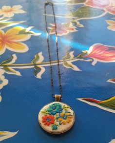Owls and Octopi: DIY embroidered pendant necklace #embroidered #necklace