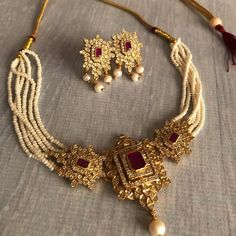 Check out this pretty pearl choker necklace and earrings by the brand Silver Cravings Jewellery. Ruby Necklace Designs, Jewelry Design Earrings, Fashion Jewelry Necklaces, Gold Earrings, Gold Temple Jewellery, Fancy Jewellery, Gold Jewellery Design, Diamond Jewellery, Bridal Bangles