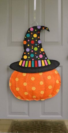 Pumpkin with Halloween Hat Burlap door and wall by AllUniqueThings, $55.00
