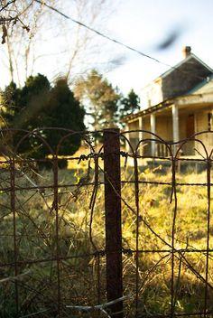 old farm, iron fence/gate