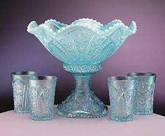 Aquamarine blue punch bowl set from Fenton Glass.