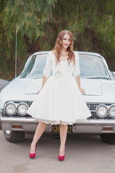 Tea Length Wedding Dress with Sleeves - Janie Jones