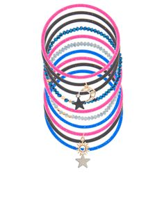 Get starry-eyed with this ten-piece bracelet pack, featuring glittery gummy and beaded designs with cosmic charms.