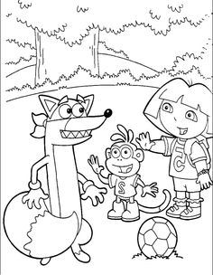 Say Hello To Swiper Dora And Boots Coloring Pages