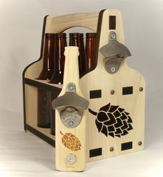 Beer Holder & Hops Magnet Bottle Opener | Wooden Beer Tote | Beer Carrier…