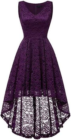 Bridesmay Women's Elegant V-Neck Vintage High Low Sleeveless Floral Lace Cocktail Party Swing Dress Grape S Grad Dresses, Dressy Dresses, Dance Dresses, Homecoming Dresses, Cute Dresses, Beautiful Dresses, Short Dresses, Bridesmaid Dresses, Mode Outfits