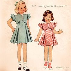 Vintage Children's Sewing Pattern - Little Girl's Dress with Shaped Waist and Back Tie - 1939 McCall Size 4 - Trends Pin Kids Clothes Patterns, Childrens Sewing Patterns, Dress Sewing Patterns, Vintage Sewing Patterns, Clothing Patterns, Pattern Sewing, 1930s Fashion, Fashion Kids, Fashion Vintage