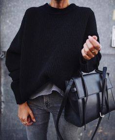 drop bell sleeves on dark sweater for fall
