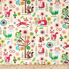 Friendly Forest Fox All-Over Multi from @fabricdotcom  Designed by Me-O-My for Spectrix, this cotton print is perfect for quilting, apparel and home decor accents.  Colors include cream, brown, tan, pink, green, teal, green and blue.