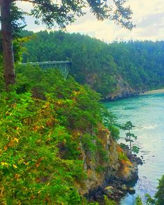 Deception pass bridge in whidbey island WA