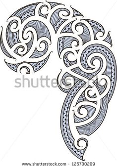 Maori style tattoo designed for a man's body (shoulder and chest). Raster image.