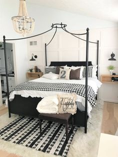 modern farmhouse bedroom makeover, master bedroom, buffalo check, buffalo plaid, black and white, diy, wood, leather, magnolia, boho, farmhouse, #LampBedroom