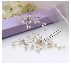Freshwater Pearl Crystal Luxe Hair Pins X2 Bridal Hair Accessory Wedding | eBay