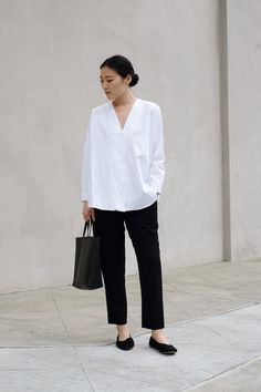daily uniform in white shirt and black trousers | @andwhatelse