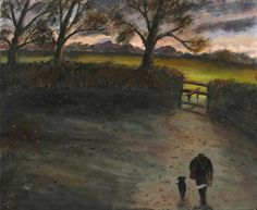 Gary Bunt - The Evening Sun Oil on canvas 20x24 in One labrador Two pheasants A cartridge bag and gun Heading home at the end of the day In the setting evening sun