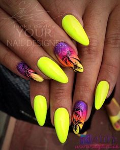Top ideas for Yellow Nail art designs Top 150 ideas for Yellow Nail art designs – Reny styles Yellow Nails Design, Yellow Nail Art, Neon Yellow Nails, Neon Nails, My Nails, Bright Nails, Trendy Nails, Cute Nails, Palm Tree Nails