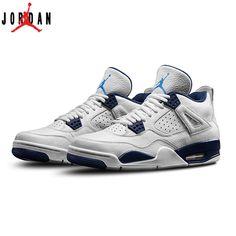 newest c7d28 b581e Authentic 314254-107 Air Jordan 4 Retro LS White Legend Blue-Midnight Navy, Jordan-Jordan 4 Shoes Sale Online