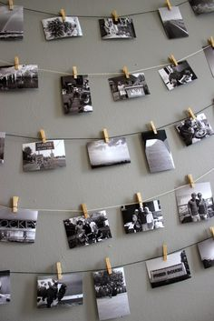 DIY photo display: Hanging photos on a string