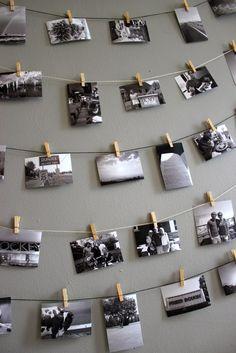 DIY photo display: Hanging photos on a string