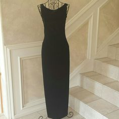 Black Backless Velvet Gown