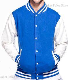 Jaket Baseball / Varsity Kancing Polos Cotton Fleece Benhur - Putih