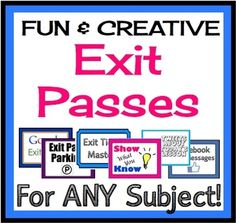 Creative Exit Tickets For Any Subject! Effective Formative Assessments