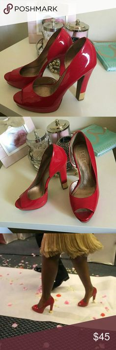 BCBG Paris Red Patent leather Platform pumps Red Patent leather Peep toe Platform pumps with gold lining on the heel.  The Heel is 5 and 1/2 inches.  Worn at my wedding, they are in pristine condition. BCBG Shoes Platforms