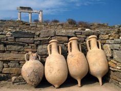Delos island: wine and water containers Reminiscent of an era of glory, Greece