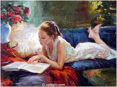 Born in the city of Khabarovsk, Vladimir Volegov began painting when he was three years old. Vladimir honed his skills during a trip, drawing portraits on the… Female Portrait, Female Art, Woman Painting, Painting & Drawing, Vladimir Volegov, Reading Art, Woman Reading, Illustration Art, Illustrations