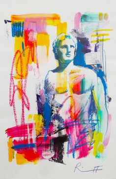 """Davide Ricchetti """"Alessandro Magno I """" , mixed media on paper , 2016"""