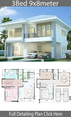 Home design plan with 3 bedrooms. Style ModernHouse description:Number of floors 2 storey housebedroom 3 roomstoilet 3 roomsmaid's room House Plans Mansion, Family House Plans, Dream House Plans, 2 Storey House Design, Small House Design, Modern House Design, Modern Houses, Modern House Floor Plans, Contemporary House Plans