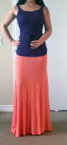simple tank with coral maxi skirt