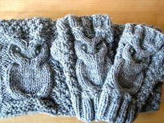 Knitted and warm owls - owlove - Neckwarmer and fingerless mitts
