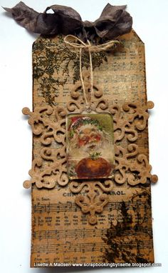 Scrapbooking by Lisette: Tag No. 10. Vintage Christmas Tag inspired by Tim Holtz style