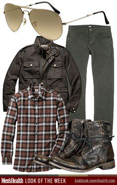 Layer up these classic earth tones for the perfect fall look. Sunglasses: Ray-BanJeans: Hudson JeansJacket: Coach Shirt: Uniqlo Boots: John Varvatos Like the idea except the glasses Sharp Dressed Man, Well Dressed Men, Indie, Hipster, Grunge, Fall Looks, Look Cool, Trends, Outfit