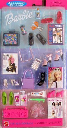 Barbie Fashion Avenue FUN ACCESSORIES Accessory Bonanza w Shoes, Lunch Box, Boombox, & MORE! (2000) by Mattel. $25.00