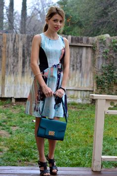 Dress and Sandals outfit great for Spring and Summer. Love the pattern and the colors of this dress.