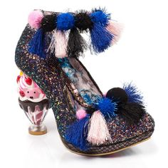 Arctic Roll Irregular Choice Featuring a multi coloured tassel and pom pom ankle strap and trim, glitter upper and an ice cream sundae heel. Donde es la Fiesta!?