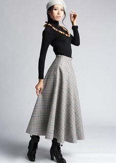 Plaid+Wool+skirt+winter+maxi+skirt+412+by+xiaolizi+on+Etsy,+$62.00