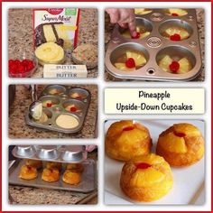Ingredients: 1 can oz) sliced pineapple, drained, juice reserved 1 box yellow cake mix cup vegetable oil 3 eggs cup butter, melted cup packed brown sugar 12 maraschino cherries, cut in half Instructions: Heat oven to Spray 24 regular-size Pineapple Upside Down Cupcakes, Pineapple Cake, Crushed Pineapple, Pineapple Yellow, Pineapple Recipes, Yellow Cake Mixes, Cupcake Recipes, Fun Recipes, Dessert Recipes