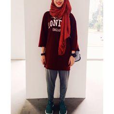 Prep hijab. london red wine dress with khaki green loose pants. Green Footwear by nike❤️