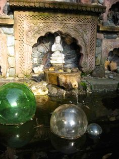 I collect antique float balls like these and I love them...Stone Fountains Mosaic Patio Garden Design