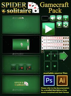Spider Solitaire Game Assets PSD, Transparent PNG, AI Illustrator. Download here: https://graphicriver.net/item/spider-solitaire-game-assets-/14528159?ref=ksioks
